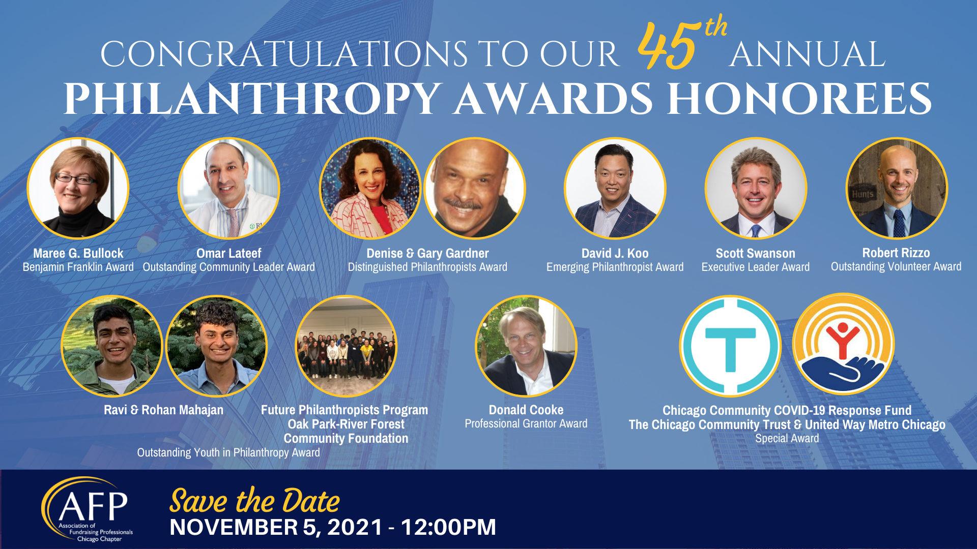 45th Annual Philanthropy Awards Honorees